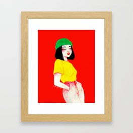 Beanie girl Framed Art Print