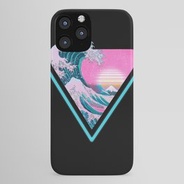 Vaporwave Aesthetic 80's 90's Great Wave Off Kanagawa iPhone Case
