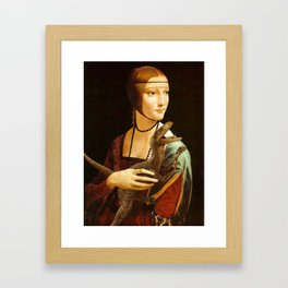 Lady with a Velociraptor Framed Art Print