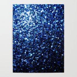 Beautiful Dark Blue glitter sparkles Poster