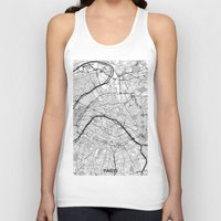 paris map Tank Tops featuring Paris Map Gray by City Art Posters