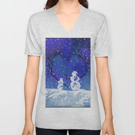 The Heart of Snowmen on a Winter Snowfall Day by annmariescreations Unisex V-Neck