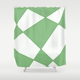 Geometric abstract - green and white. Shower Curtain