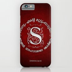 Joshua 24:15 - (Silver on Red) Monogram S iPhone 6s Slim Case