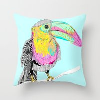 toucan Throw Pillows featuring Toucan by caseysplace
