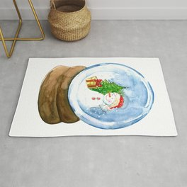 A snow globe in watercolor Rug