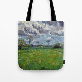Meadow With Flowers Under a Stormy Sky Tote Bag