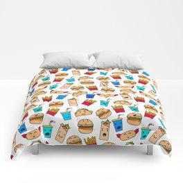 Kawaii Fast Food Burger Fries Taco Pattern White Comforters