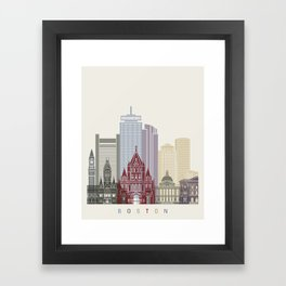 Boston skyline poster Framed Art Print