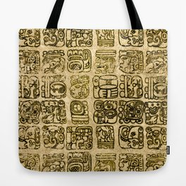 Mayan and aztec glyphs gold on vintage texture Tote Bag