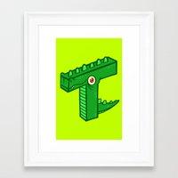 t rex Framed Art Prints featuring T-Rex by Artistic Dyslexia