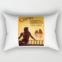 Italy 1938 Capri & The Grand Hotel Quisisana Advertising Poster Rectangular Pillow