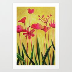 Pink on Yellow Art Print
