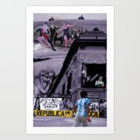 argentina Art Prints featuring Argentina by Noush