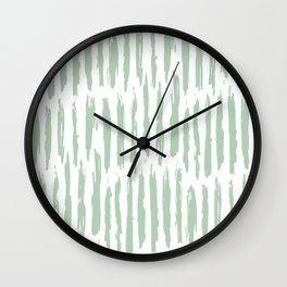 Vertical Dash Stripes Pastel Cactus Green on White Wall Clock