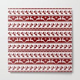 Dark Christmas Candy Apple Red Nordic Reindeer Stripe in White Metal Print