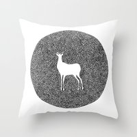 alisa burke Throw Pillows featuring Deer Mandala 2 black-white by Anna Grunduls