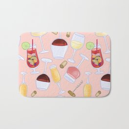 Happy Wine Pattern Bath Mat