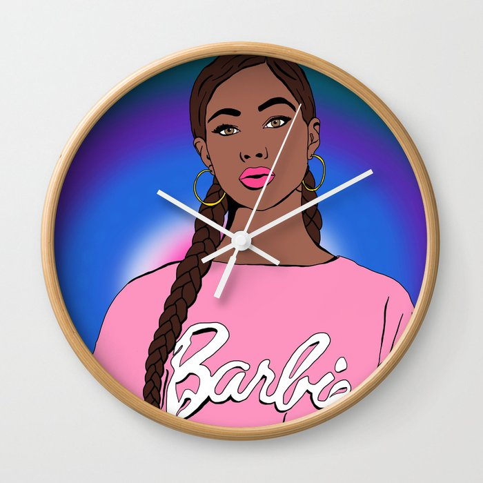 Black Barbie Wall Clock by Chickchaos - Natural - White