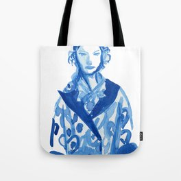 Samurai casual -blue ink woman fashion illustration Tote Bag