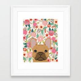 French Bulldog florals portrait dog breed custom pet portraits by pet friendly frenchie Framed Art Print