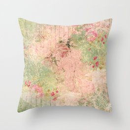 Shabby Garden Fence - Lime and Pink Throw Pillow