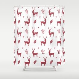 Christmas Red Reindeers Shower Curtain