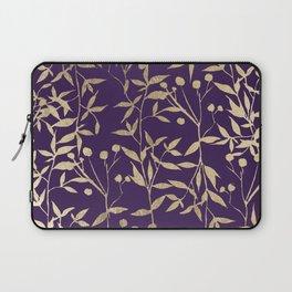 Stylish elegant purple gold foil berries leaves foliage Laptop Sleeve