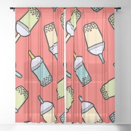 Bubble Tea Pattern in Red Sheer Curtain