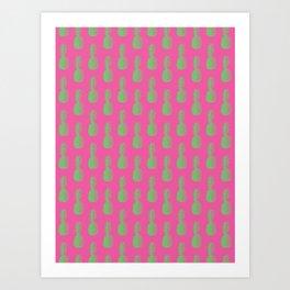 Pineapples - Pink & Green #464 Art Print