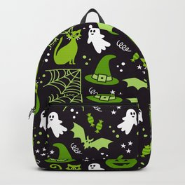 Halloween party illustrations green, black Backpack