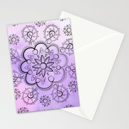 FLORAL INDIE WATERCOLOR MANDALA Stationery Cards
