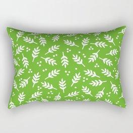 Christmas Pattern, Whimsical Leaves, Green Rectangular Pillow