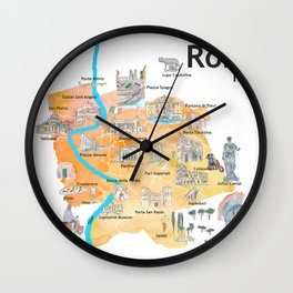 Rome Italy Illustrated Travel Poster Favorite Map Tourist Highlights Wall Clock