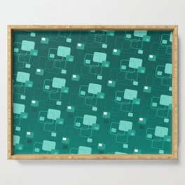Space age retro teal squares decorator pattern Serving Tray