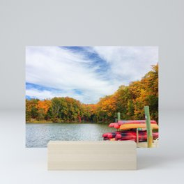 Fall landscape on Severn River with kayaks | Annapolis, Maryland Mini Art Print