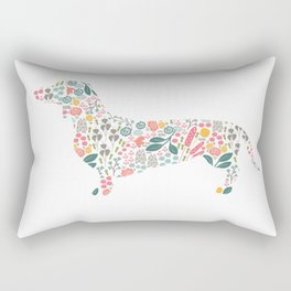 Dachshund Floral Watercolor Art Rectangular Pillow