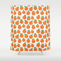vegetarian Shower Curtains featuring Oranges - sweet fruit summer fresh vegan vegetarian juicing cleanse art print home office decor by CharlotteWinter