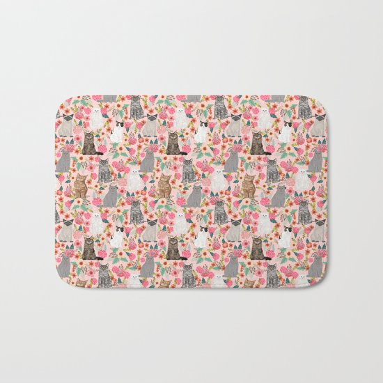 Cat Flowers cute spring summer garden cat lady pattern gift for cat person cat breed pet portraits  Bath Mat