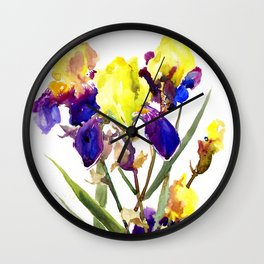 Garden Iris Floral Artwork Yellow Purple Blue Floral design, bright colored floral design Wall Clock