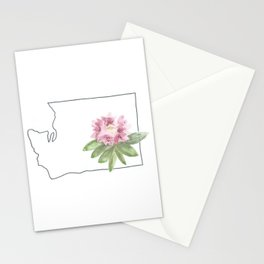 washington // watercolor rhododendron state flower map Stationery Cards