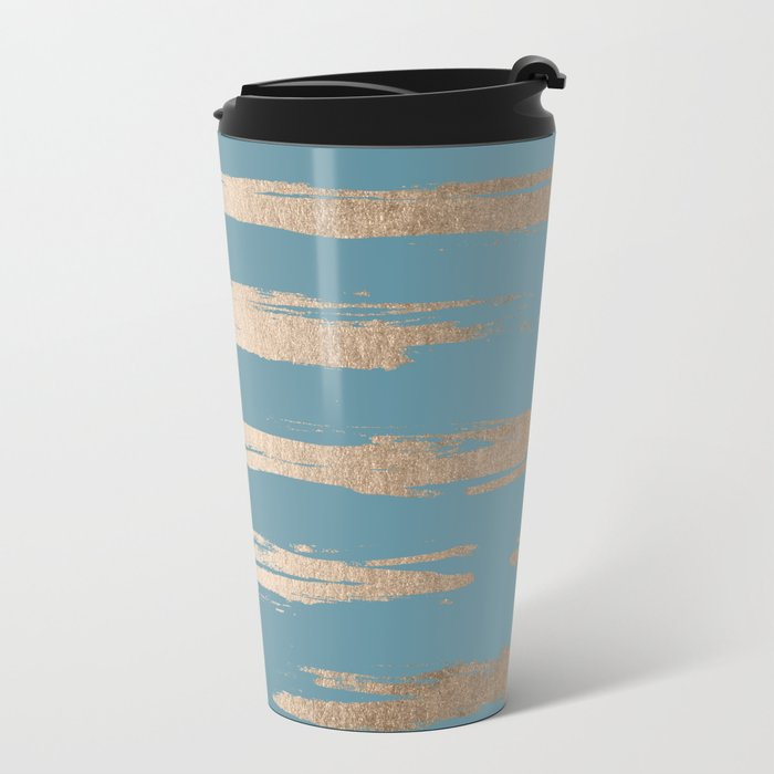 Abstract Painted Stripes Gold Tropical Ocean Blue Metal Travel Mug