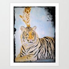 Giraffe Kissing Tiger Art Print