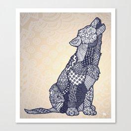 Zentangle Wolf Cub (Update) Canvas Print