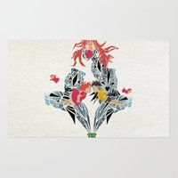 ponyo Area & Throw Rugs featuring ponyo on the cliff by the sea by Manoou