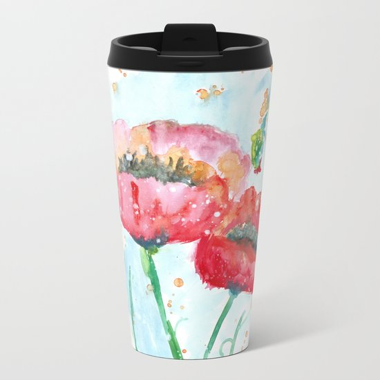 Poppy flowers no 4 Summer illustration watercolor painting Metal Travel Mug