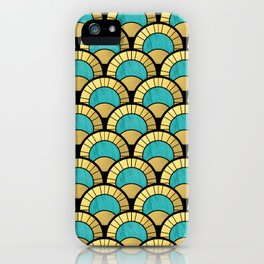 Duck Egg Green Art Deco Fan Pattern iPhone Case