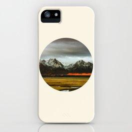 Iceland Landscape Grass Orange Sand & Grey Mountains Round Frame Photo iPhone Case