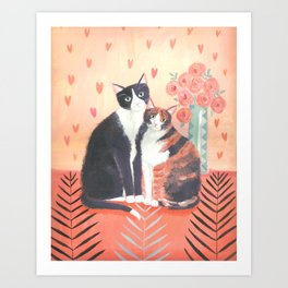 Cats with roses Art Print