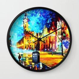 Tardis Art Starry Street Night Wall Clock